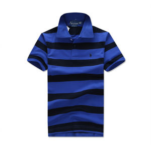 Customize Cheap Promotional Knitted 100%Cotton Stripe Men Tee Shirt pictures & photos