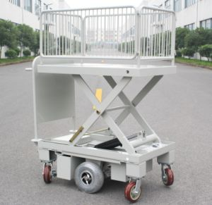 Powered Scissor Lift Cart with One Cylinder & Wire Fence (HG-1090B)