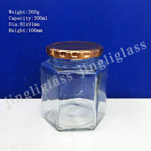 300ml Hexagonal Glass Jar with Metal Lid pictures & photos