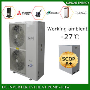Cold -25c Winter Floor Heating 100~350sq Meter Room 12kw/19kw/35kw R407c Split Evi Air to Water Heat Pump Inverter Monobloc pictures & photos