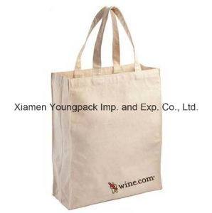 Eco-Friendly Reusable White 100% Natural Cotton Canvas Cloth Carrier Bag pictures & photos