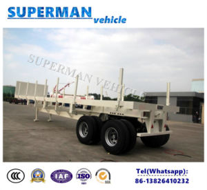 Two Axle Cargo Flatbed Semi Truck Trailer with Stake pictures & photos