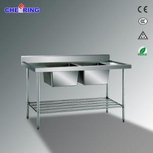 Kitchen Stainless Steel 2-Sink Workbench pictures & photos