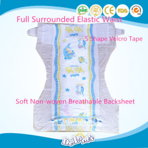 Cotton Backsheet Disposable Baby Diaper with Magic Tape pictures & photos