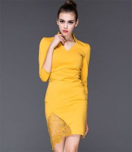 European 2015 High-End Women Ol Career Sexy Pack Hip Stitching Lace Dress pictures & photos