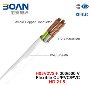 H05V2V2-F, Electric Wire, 300/500 V, Flexible Cu/PVC/PVC (HD 21.5) pictures & photos