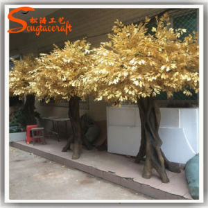 Hot Sale Golden Artificial Ficus Tree Made of Fiberglass pictures & photos