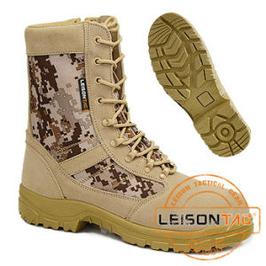 Tactical Camouflage Boots of Waterproof Nylon and Cowhide Leather pictures & photos