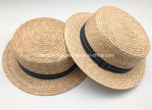 High Quality Canotier Boater Wheat-Straw Hats with Ribbon (CPA_80052) pictures & photos