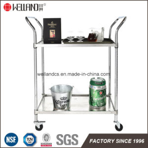 NSF Stainless Steel Wire Restaurant Serving Cart Trolley pictures & photos