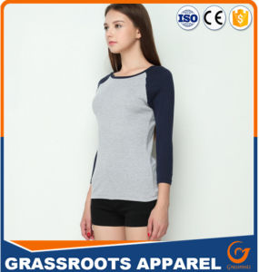 100 Cotton Women′s T Shirt Patchwork Contrast Sleeve Tops pictures & photos