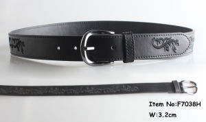 Black Embroidery PU Belt with Flower Design pictures & photos
