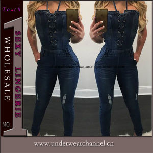 Sexy Skinny Blue Jeans Playsuit Denim Overalls Jumpsuit (TOSM4010) pictures & photos