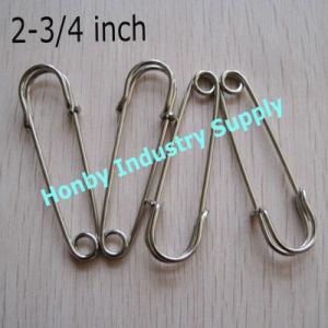 Decorative 70mm Large Polished Silver Brooch Kilt Safety Pins