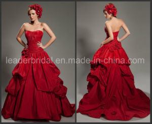 Red Color Taffeta Ball Gown Hand Flowers Bridal Wedding Dress Yao30 pictures & photos