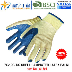 7g/10g T/C Shell Laminated Latex Palm Safety Work Glove (S1501) with CE, En388, En420 for Construction Use Gloves pictures & photos