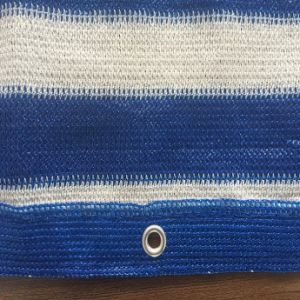 Anti UV Balcony Shade Net, blue and White Stripe, HDPE Knitted Raschel Netting pictures & photos