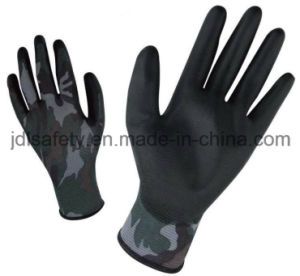 Printed Polyester Work Glove with PU Palm Coated (PN8014-5) pictures & photos