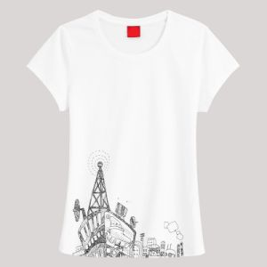 Custom Printing Women T-Shirt with Cotton or Polyester Fabric pictures & photos