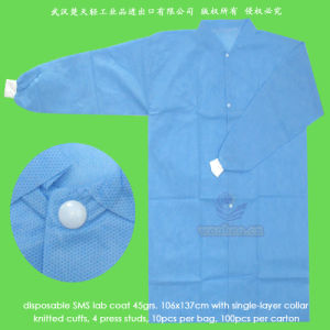 Disposable Patient Coat with Knitted Cuffs or Elastic Wrists pictures & photos