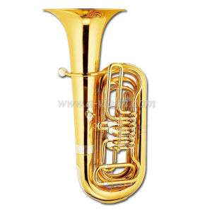 Bb Key Gold Lacquer 4 Valves Rotary Brass Tuba (TU9911) pictures & photos
