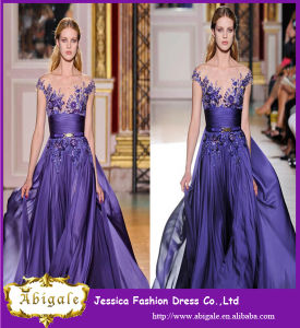 Sexy Long Purple Applique Taffeta Formal Prom Party Long Cheap Evening Dress pictures & photos