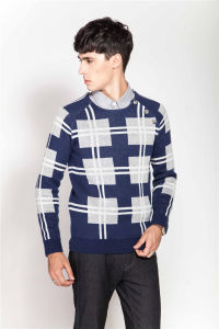 Fashion Round Neck Patterned Knitting Sweater for Men pictures & photos