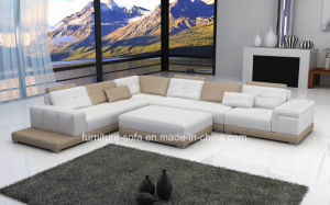 Chinese Low Back Wood Frame Sponge L Shape Sofa with Ottoman (SF104)