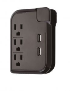 La-3sc 3 Outlets Current Tap with USB Charging Ports and Cord Management