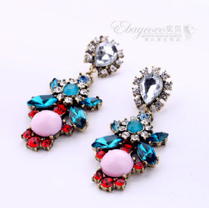 Fashion Zinc Alloy Bohemia Flowers Earring with Resin Crystal and Rhinestones (BXMY1154)