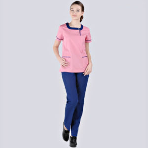 Pink Medical Scrub Top Pants Hospital Scrub Uniform pictures & photos