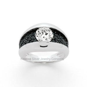 925 Sterling Silver Jewellery Black Plated CZ Lady Ring Kr3005 pictures & photos