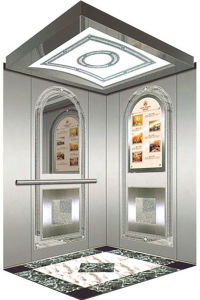 Passenger Elevator with Etching Stainless Steel Car Cabin pictures & photos