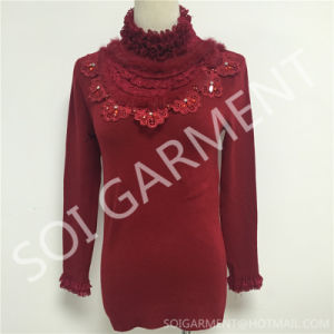 Women Fashion Turtleneck Warm Knitted Long Sweater with Accessories (SOITSW-13)