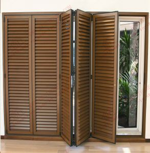 High Quality Woodgrain Aluminum Bi-Folding Shutter Door (BHA-DBF04) pictures & photos