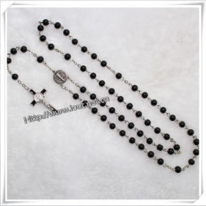 Religious Black Glass Round Bead Rosary, Religious Glass Necklace (IO-cr057) pictures & photos