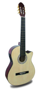 """39"""" Classical Guitar with 5 White ABS Binding & Central Color Strip (TLFB39C-5)"""