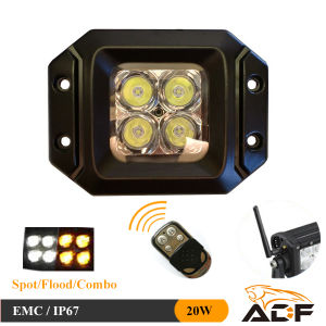 20W Remote Control 4th Flashing LED Car Light for Forklift Truck, Excavator, Offroad Vehicle