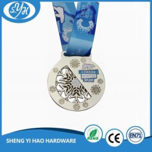 Custom Sport Event Silver Plated Medal with Sublimated Ribbon pictures & photos