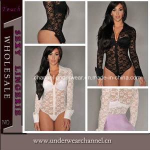 Sexy Lady White Black Lace Long Sleeves Teddy Lingerie (T3182) pictures & photos