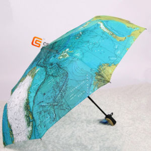 Fold Auto Open and Close Map Fabric Umbrella (YS-3F2001A) pictures & photos