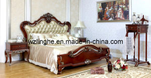 Lh201A Luxury Bedroom Furniture with Leather Upholstery Designed for Suites and Villa