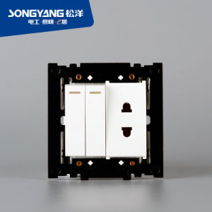 PC Series 2gang&1socket Wall Switch pictures & photos