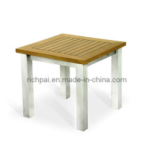 Stainless Steel and Teak Side Table (RPT008)