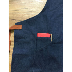 Factory Custom Blue Denim Gardening Aprons with Tool Pockets pictures & photos