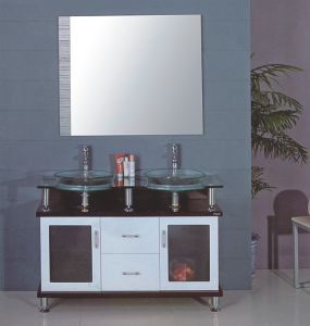Double Sink Glass Bathroom Cabinet (B-608) pictures & photos