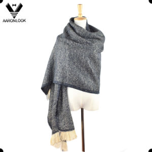 Lady′s Twill Herringbone Crochet Pattern Winter Checked Shawl Wrap pictures & photos