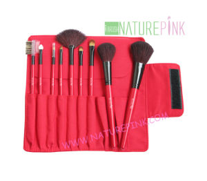 Red High Quality Goat Hair Makeup Brush Set with Cosmetic Case