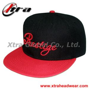 3D Embroidery Flat Peak Baseball Cap Red Visor pictures & photos