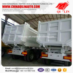Tri-Axle 50t Dump Semi Trailer with Hydraulic Lift pictures & photos